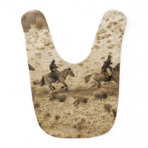 Old West Cowboys Riding Baby Bib