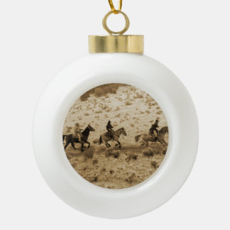 Old West Cowboys Riding Ornament
