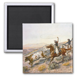 Old West Cowboys Ropin Steer Fridge Magnet
