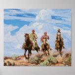 Old West Cowboys Vintage Art Print Poster