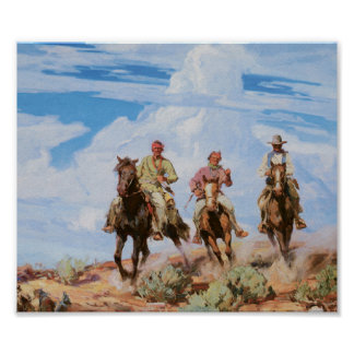 Old West Cowboys Vintage Art Print Poster