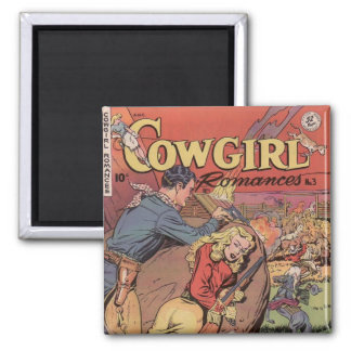Old West Cowgirl Romance Ad Fridge Magnet