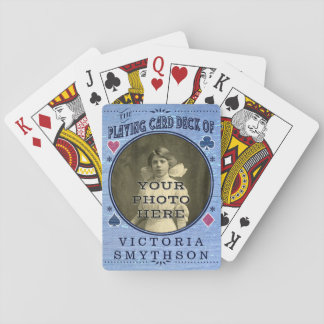 Old West Custom Photo Personalized Blue Wood Playing Cards