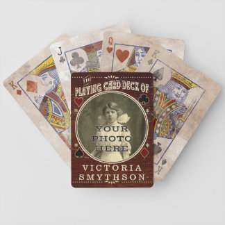 Old West Custom Photo Personalized Brown Wood Bicycle Playing Cards