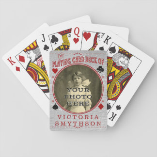 Old West Custom Photo Personalized Gray Wood Card Deck