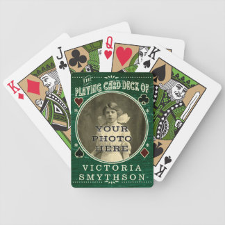 Old West Custom Photo Personalized Green Wood Bicycle Playing Cards