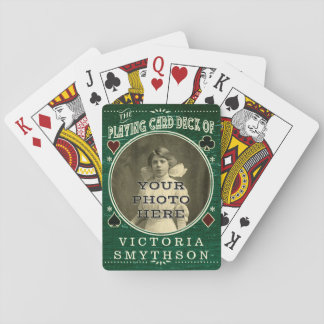 Old West Custom Photo Personalized Green Wood Playing Cards