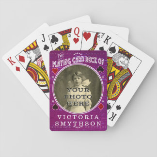 Old West Custom Photo Personalized Purple Wood Playing Cards