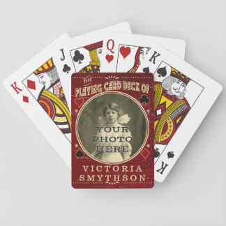 Old West Custom Photo Personalized Red Wood Playing Cards