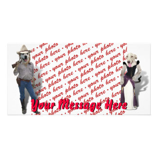 Old West Dogs Photo Frame Photo Greeting Card