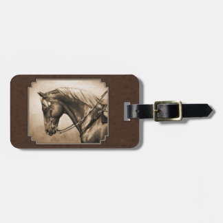 Old West Horse Sepia Rectangle Border Brown Bag Tag
