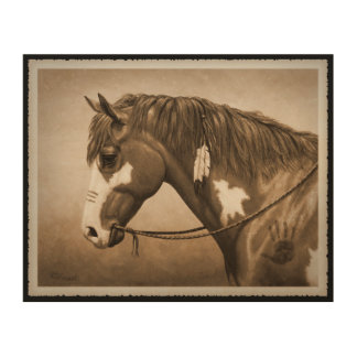 Old West Indian Pony Wood Canvases