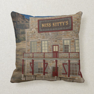 Old West Miss Kitty's Saloon MoJo Throw Pillow