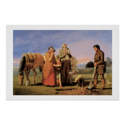 Old West Prairie Burial Art Print Poster