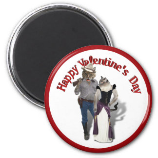 Old West 'Purrfect'  Cat Couple Valentine Magnet