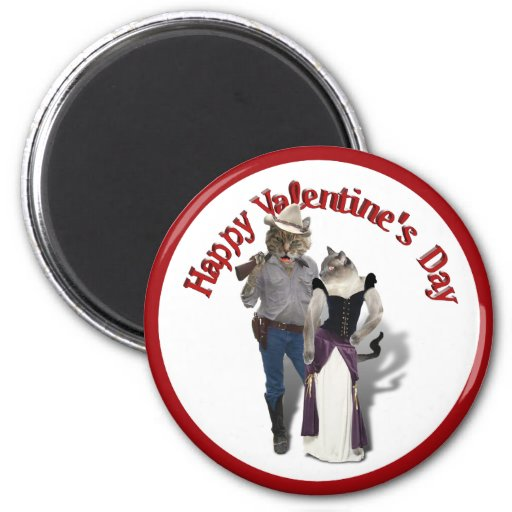 Old West 'Purrfect'  Cat Couple Valentine Magnets