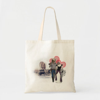 Old West 'Purrfect'  Cat Couple w/ Wagon Bag