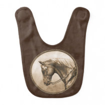 Old West Quarter Horse Sepia Brown Baby Bib