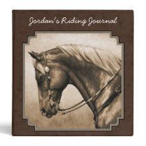 Old West Quarter Horse Sepia Brown Binder