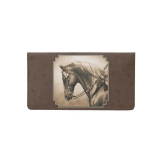 Old West Quarter Horse Sepia Brown Checkbook Cover