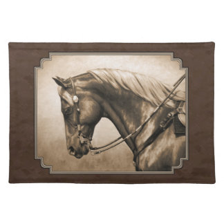 Old West Quarter Horse Sepia Brown Cloth Placemat