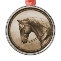 Old West Quarter Horse Sepia Brown Metal Ornament