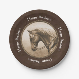 Old West Quarter Horse Sepia Brown Paper Plate