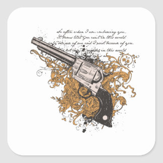 Old West Revolver Square Stickers