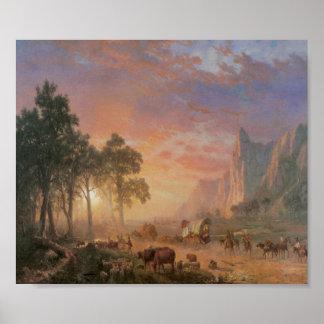 Old West Scene Cattle Drive Vintage Art Poster
