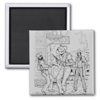 Old West Shoot Out at the Saloon Fridge Magnet