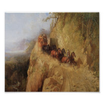 Old West Stagecoach Horses Vintage Art Poster