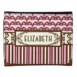 Old West Victorian Cowgirl Damask Pink and Brown Wallets