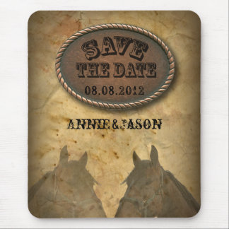 old west western country wedding save the date mouse pad