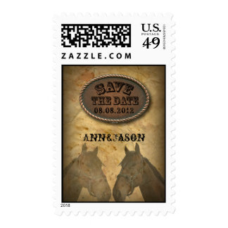old west western country wedding save the date postage