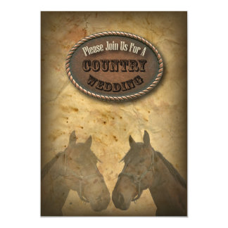 old Western Cowboy Country Wedding Invitation