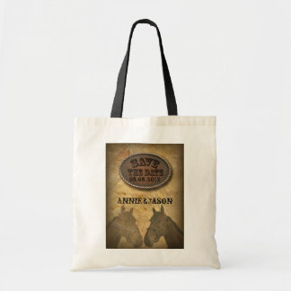 old Western Cowboy Country Wedding SaveTheDate Budget Tote Bag
