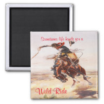 Old Western Cowboy on Bucking Horse Magnet