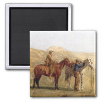 Old Western Cowboys With Horses Magnet