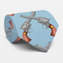 Old western Revolvers Realistic Illustration Tie