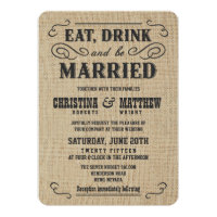 Old Western Rustic Burlap Wedding Invitations