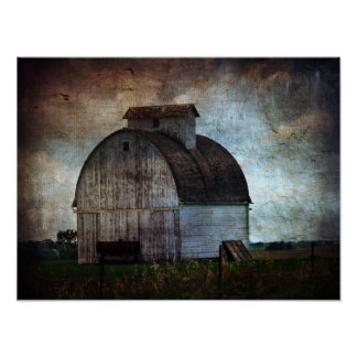 Old White Barn in Field Poster