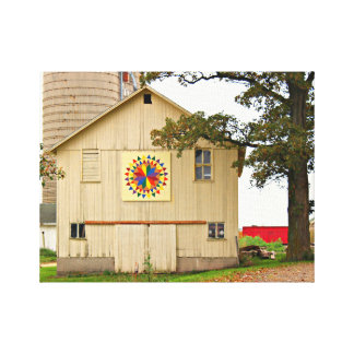 Old White Barn With Rainbow Barn Quilt Canvas Print