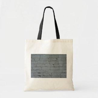 Old white brick wall budget tote bag