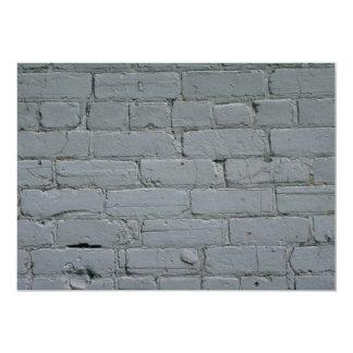 "Old white brick wall 5"" x 7"" invitation card"