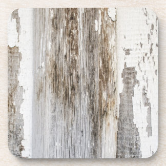 Old white paint wooden wall texture coaster