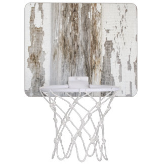 Old white paint wooden wall texture mini basketball hoop