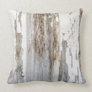 Old white paint wooden wall texture throw pillow