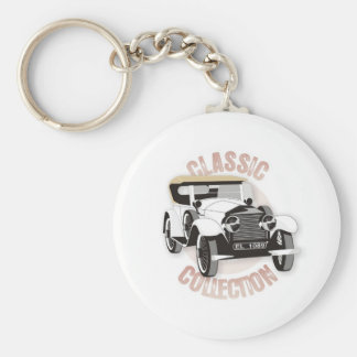 Old white vintage car with hard top roof keychain