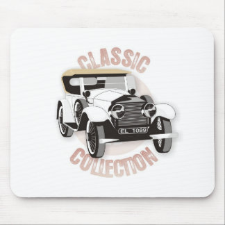 Old white vintage car with hard top roof mouse pad