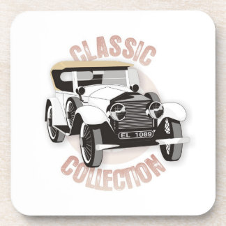 Old white vintage car with soft top roof drink coaster